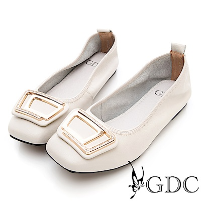 GDC-真皮舒適方頭抓皺金屬飾釦包鞋-米色