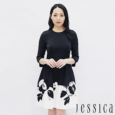 JESSICA - 經典雙色花卉設計修身洋裝