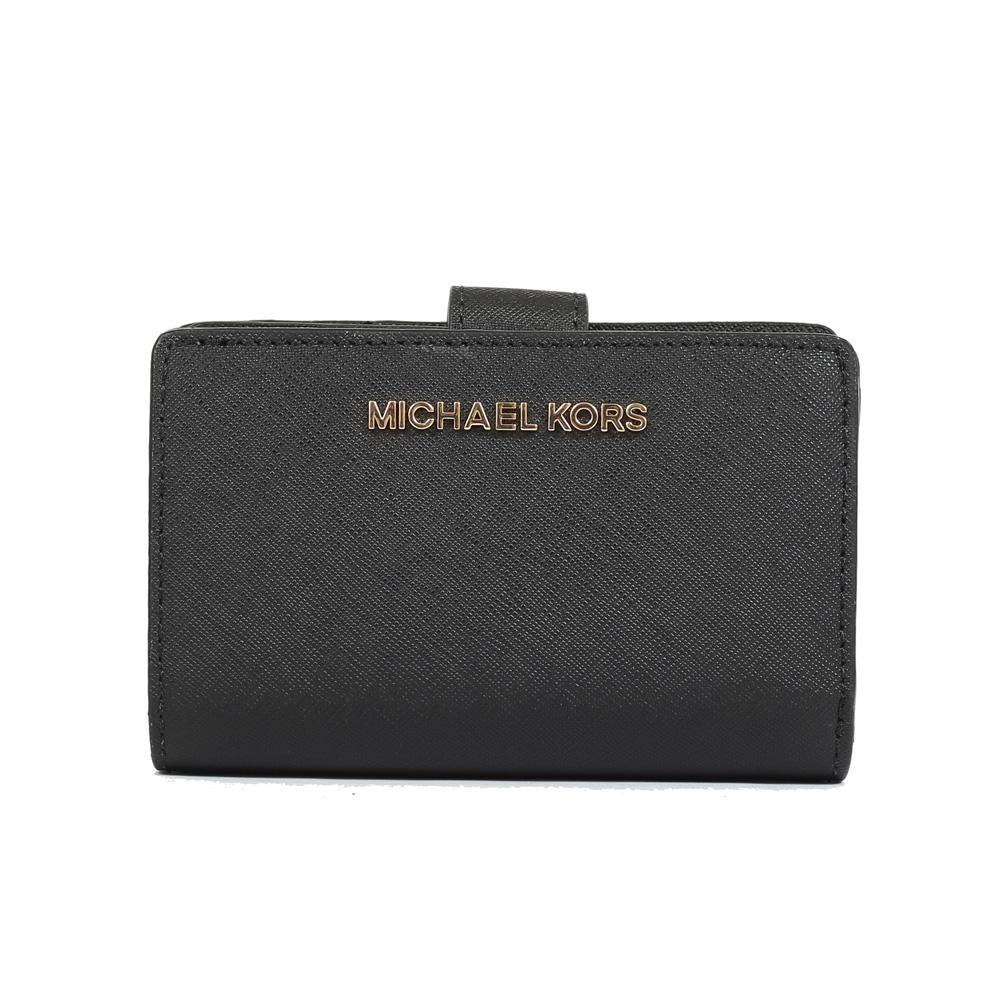 MICHAEL KORS  Jet Set 防刮皮革金字釦式中夾(黑色)