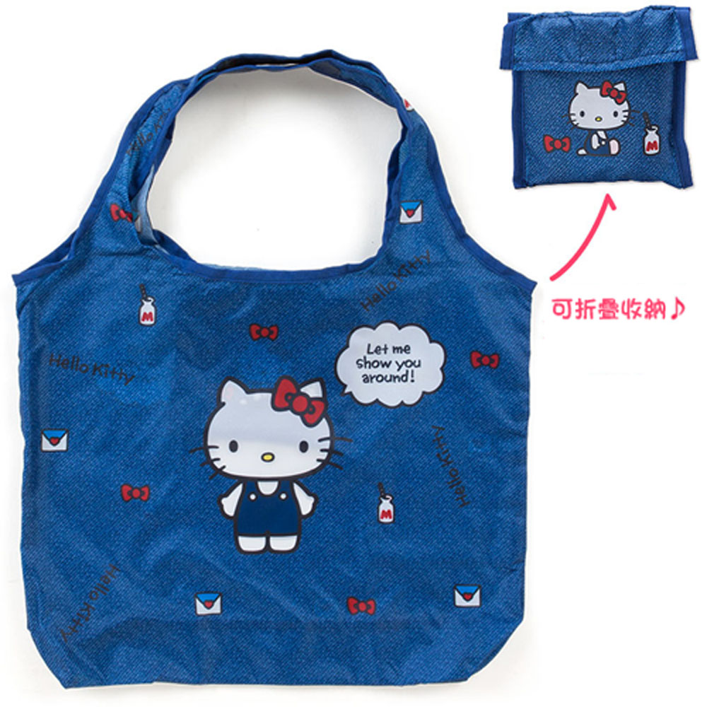 Sanrio HELLO KITTY環保購物袋M(牛仔小物)