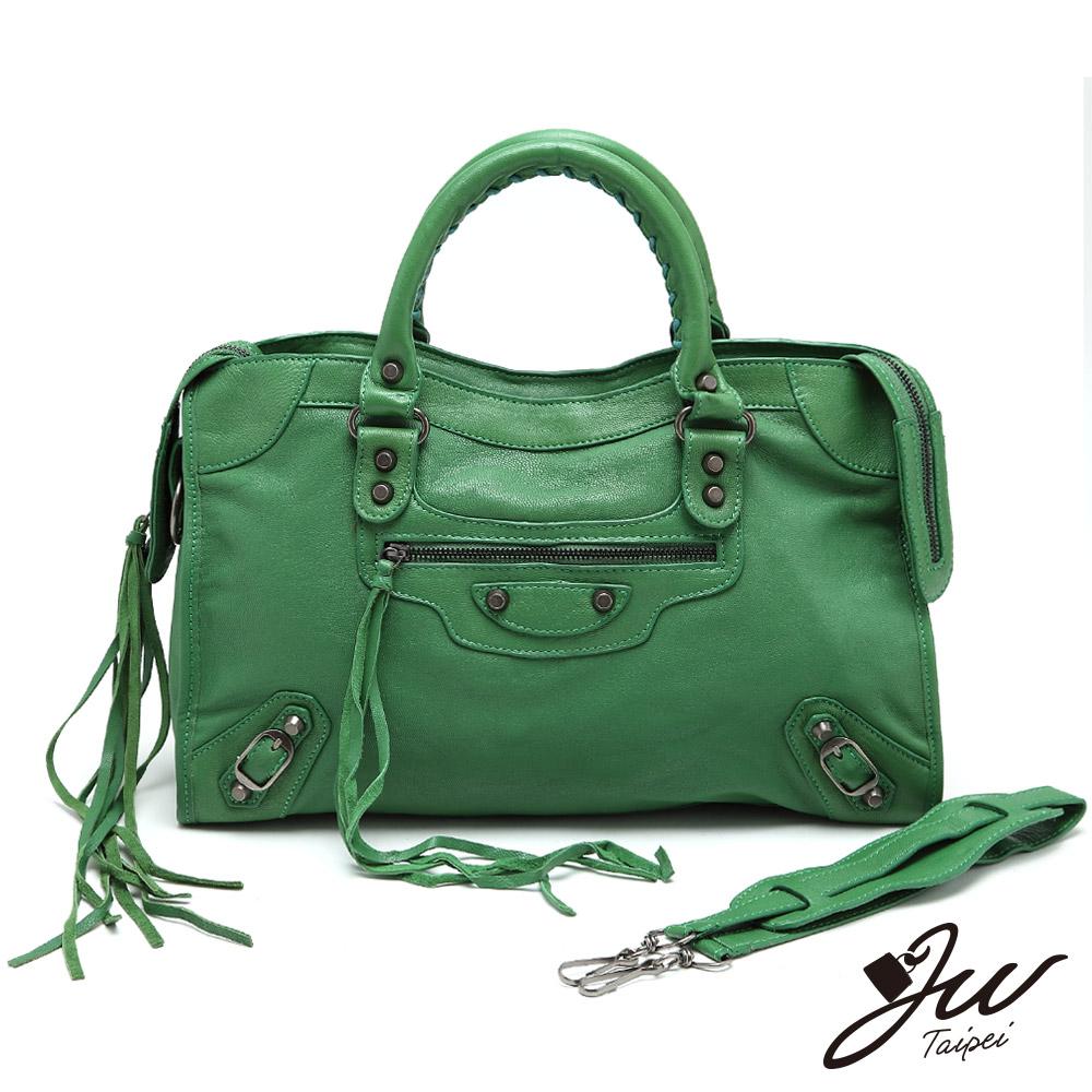 【J.W】時尚巴黎~全手感流蘇羊皮機車包(共13色-青草綠)