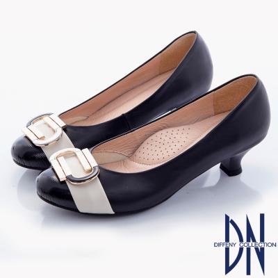 DN-典雅知性-全真皮復古金屬飾扣拼接低跟包鞋-黑