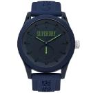Superdry 極度乾燥休閒潮流小秒盤時尚手錶-藍/45mm