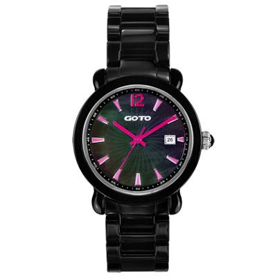 GOTO 躍動元素時尚陶瓷腕錶-黑x粉紅時標/40mm