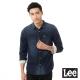 Lee牛仔長袖刷白襯衫101+男款-深藍
