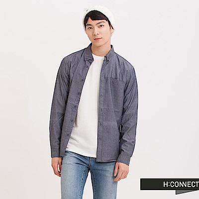 H:CONNECT 韓國品牌 男裝 - 基本純色口袋襯衫 - 藍