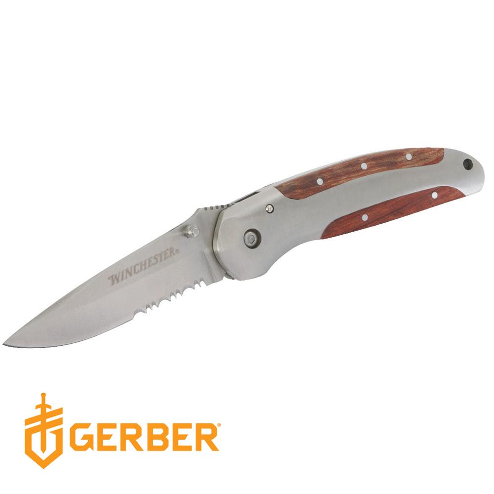 Gerber Winchester 鑲嵌手柄半齒半刃折疊刀(鮑伊刀款)22-41335