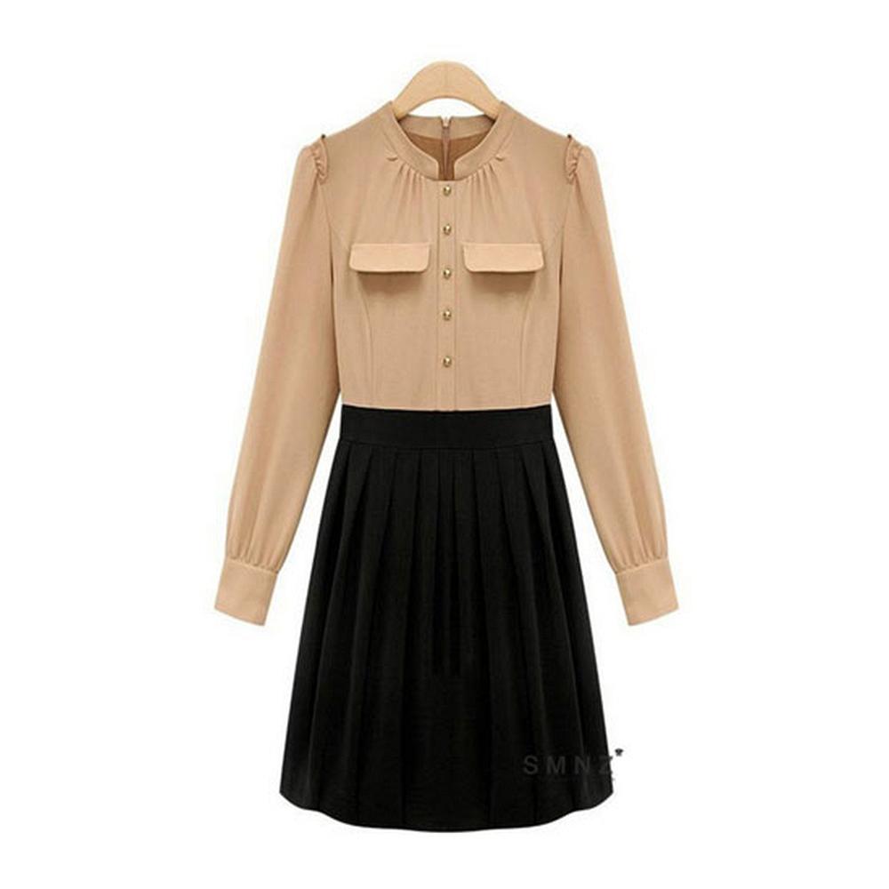 【Love20首爾館】現貨 OL氣質高腰長袖連衣裙