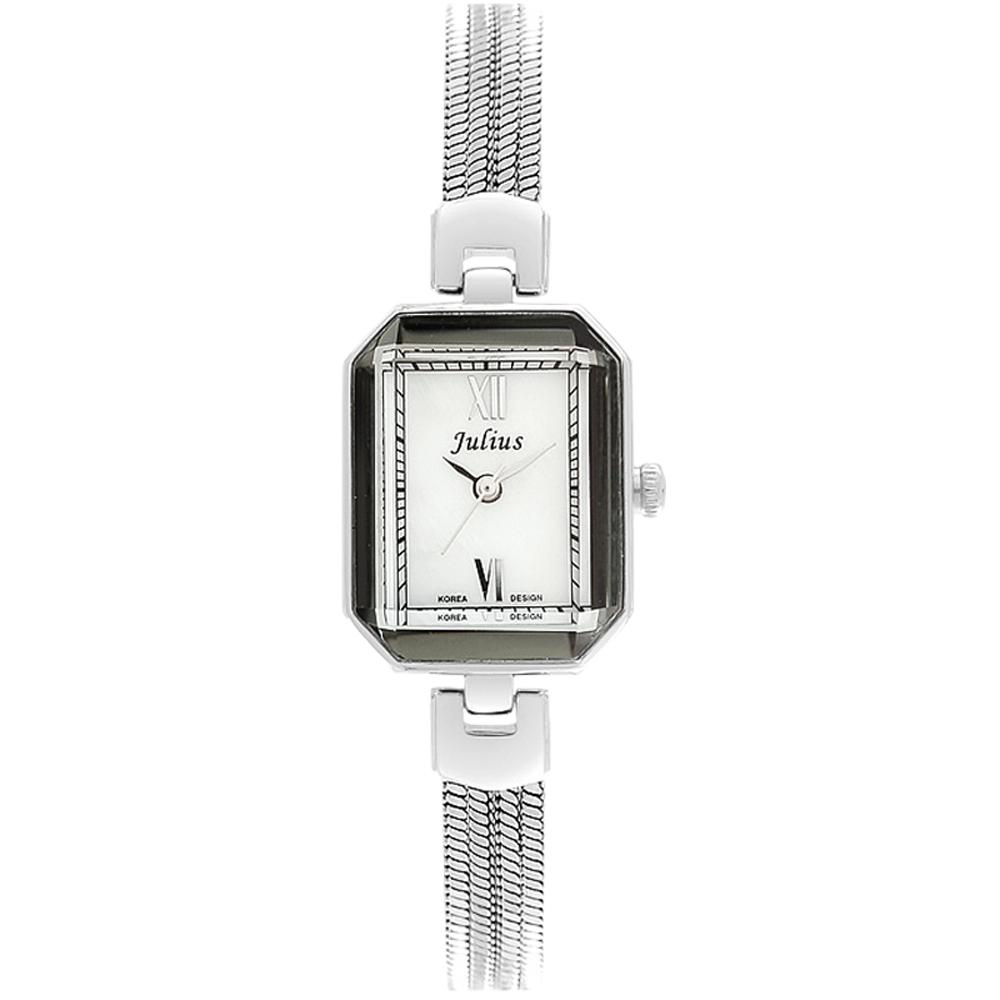JULIUS聚利時左岸呢喃貝殼面鍊飾腕錶-銀色20x26mm
