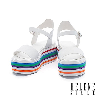 涼鞋 HELENE SPARK 活潑一字帶多彩層次厚底牛皮繫帶涼鞋-白