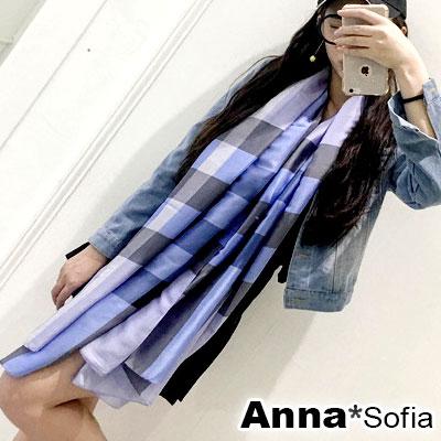 AnnaSofia 光澤柔滑格紋 亮緞面仿絲披肩絲巾圍巾(藍黑系)