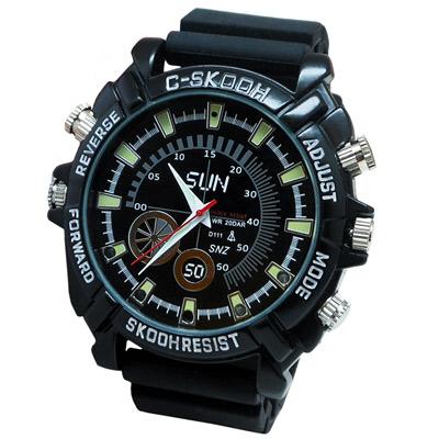 【CHICHIAU】1080P偽裝防水橡膠帶手錶SUN-夜視8G微型針孔攝影機