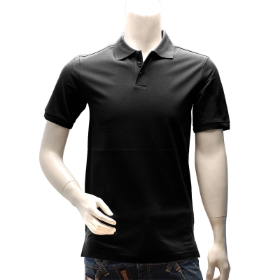 Y-3 adidas山本耀司經典LOGO素面純棉立領短袖POLO衫(黑)