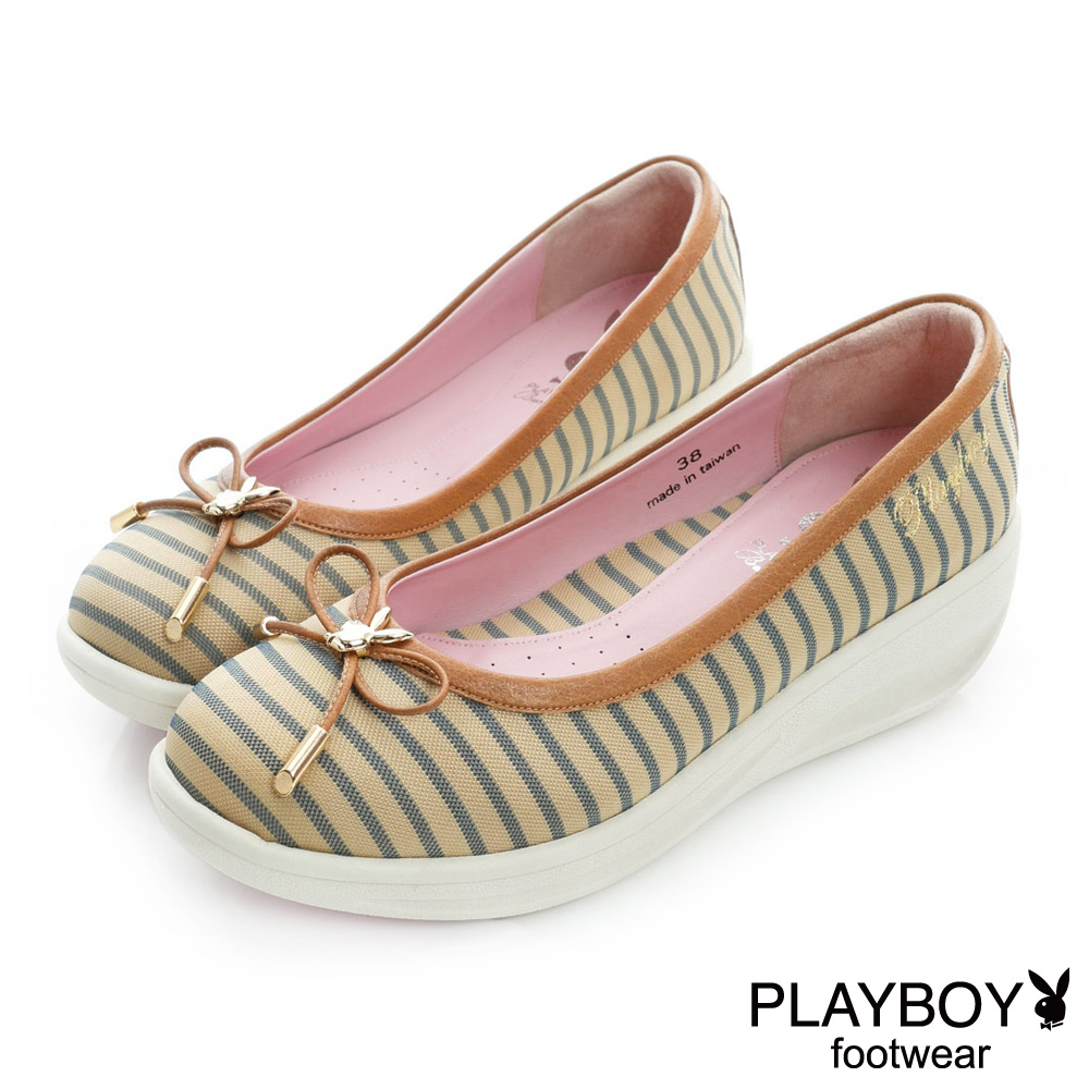 PLAYBOY 沁甜清新 GOPLAY蝴蝶結條紋娃娃鞋-卡其(女)