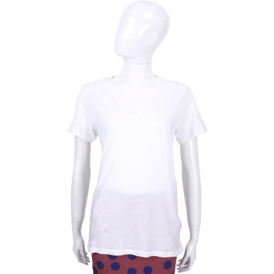 BURBERRY BRIT系列 白色V領棉質短袖上衣/T恤