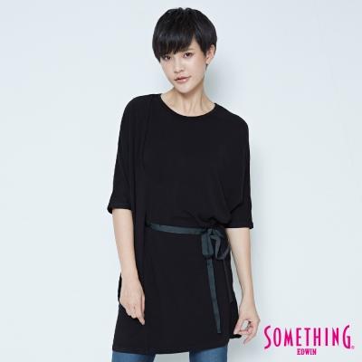 SOMETHING 腰部抽繩長版T恤-女-黑色