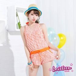 夏之戀SUMMERLOVE  亮麗條紋連身褲三件式泳衣