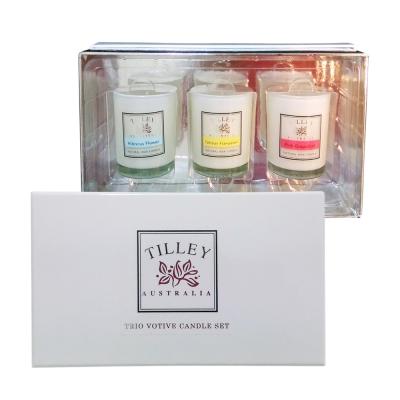 Tilley百年特莉 香氛蠟燭30gx3三入禮盒-芙蓉,赤素馨,紅葡萄柚.