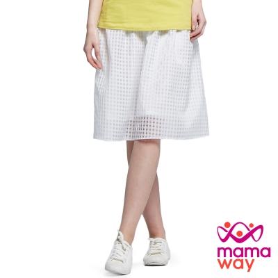 孕婦裙 中長裙 孕期時尚平織格紋中長裙(共二色) Mamaway