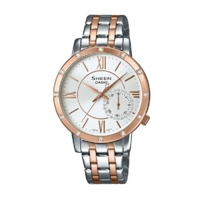 SHEEN華洛世奇水晶經典簡約三眼腕錶(SHE-3046SGP-7A)銀白X玫瑰金框34mm