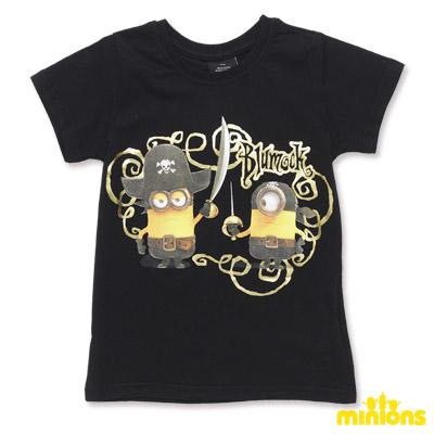 Minions-海盜造型黃色小小兵燙金短袖T恤-黑(童)