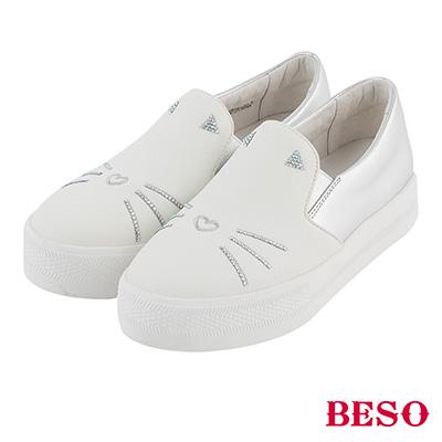 BESO 俏皮童趣 鑽飾貓臉真皮休閒鞋~白