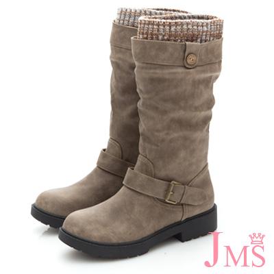 JMS-百搭首選抓皺皮帶扣環中靴-卡其色