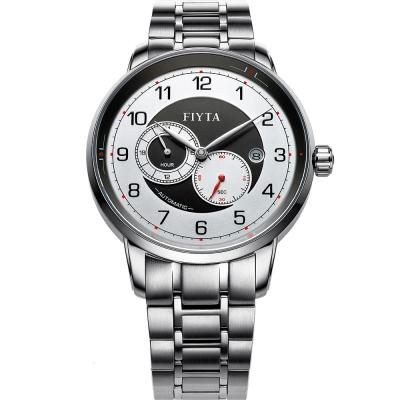 FIYTA 飛亞達 攝影師系列雙眼機械腕錶-銀/42mm