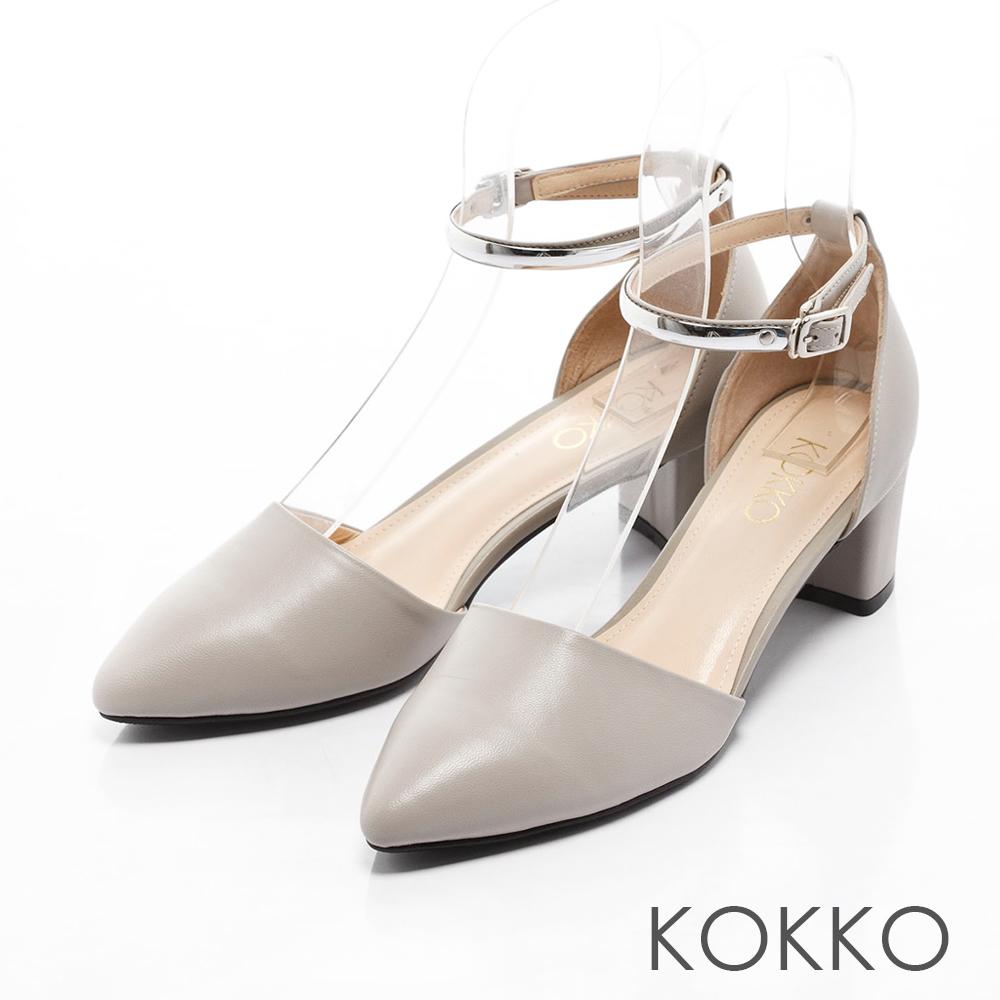 KOKKO-真皮法式優雅金屬繫踝粗跟鞋 - 淡灰