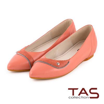 TAS 曲線拉鍊小翻領內增高娃娃鞋-蜜桃橘