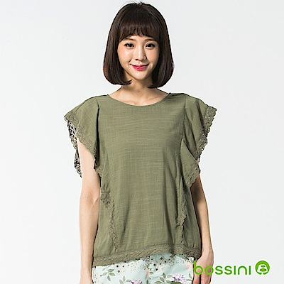 bossini女裝-短袖造型襯衫04草綠