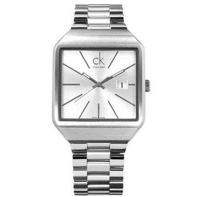 CK 爵士風尚方形日期瑞士機芯不鏽鋼手錶-銀色/37mm