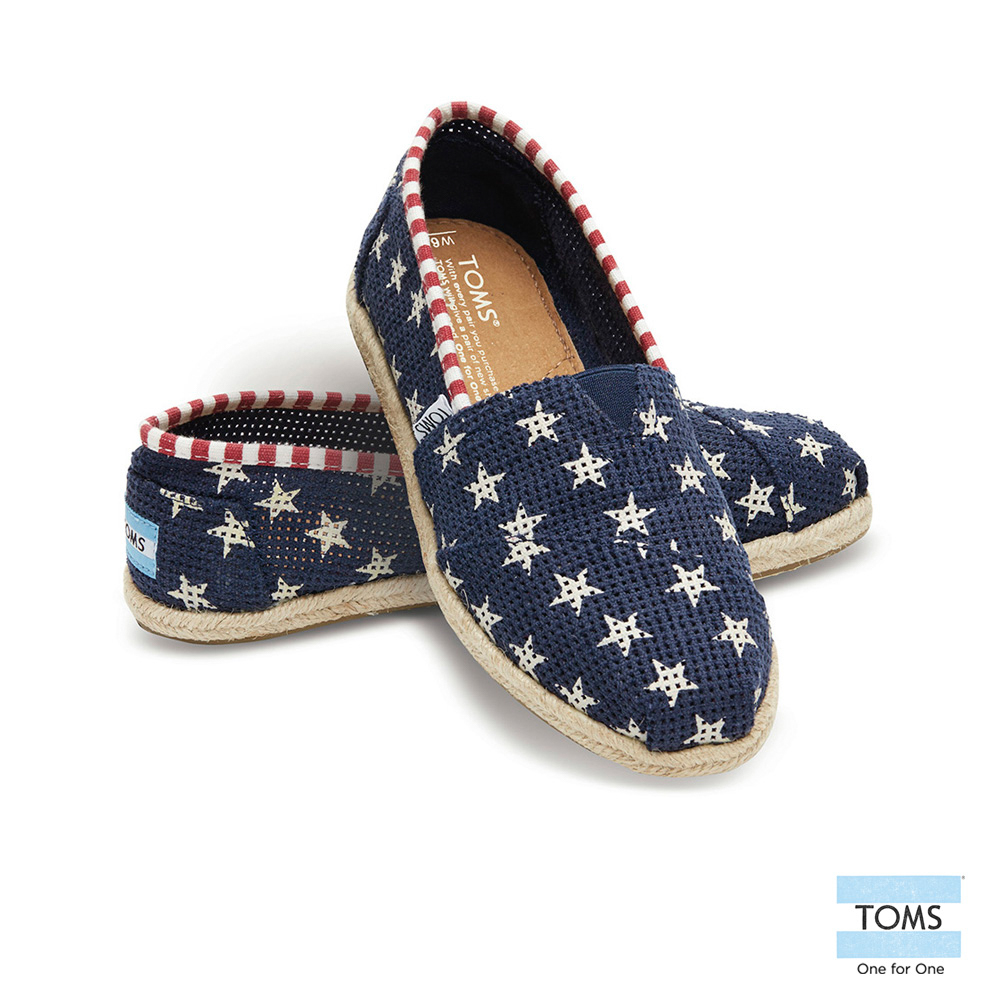 TOMS 經典星星麻底懶人鞋-女款(藍)