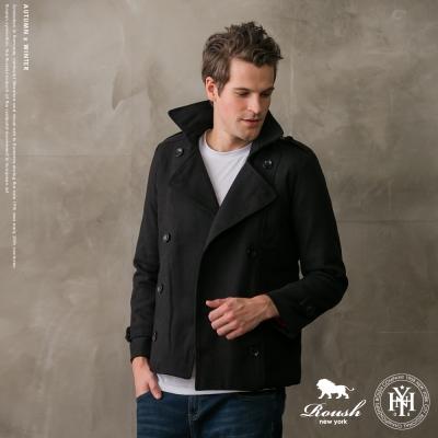 ROUSH 韓版雙排釦軍裝鋪棉短大衣 (2色)