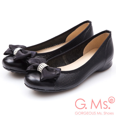 G.Ms. MIT系列-牛皮洞洞紗緞蝴蝶結娃娃鞋-黑色