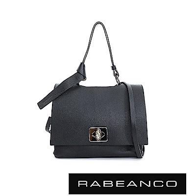 RABEANCO 閃耀系列精緻寶石釦羊皮晚宴包-鋼琴黑