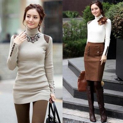 【Love20首爾館】現貨 淑女款高領顯瘦羊毛針織衫(共四色)