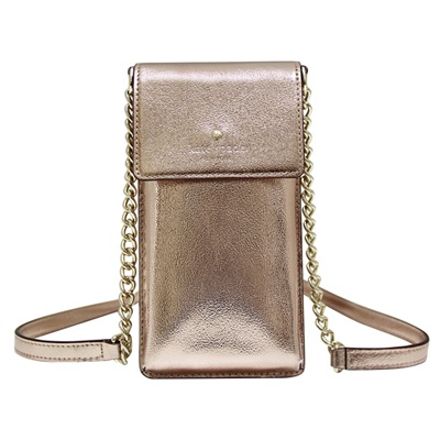 Kate spade 金屬感牛皮斜背手機包-玫瑰金