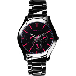 Relax Time 嶄新系列日曆腕錶-黑x桃紅/42mm