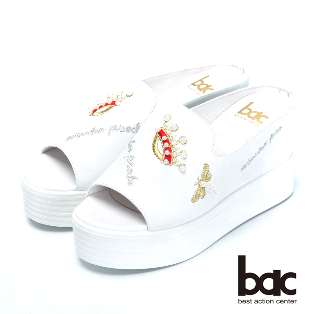 bac時尚休閒珍珠皇冠厚底拖涼鞋-白