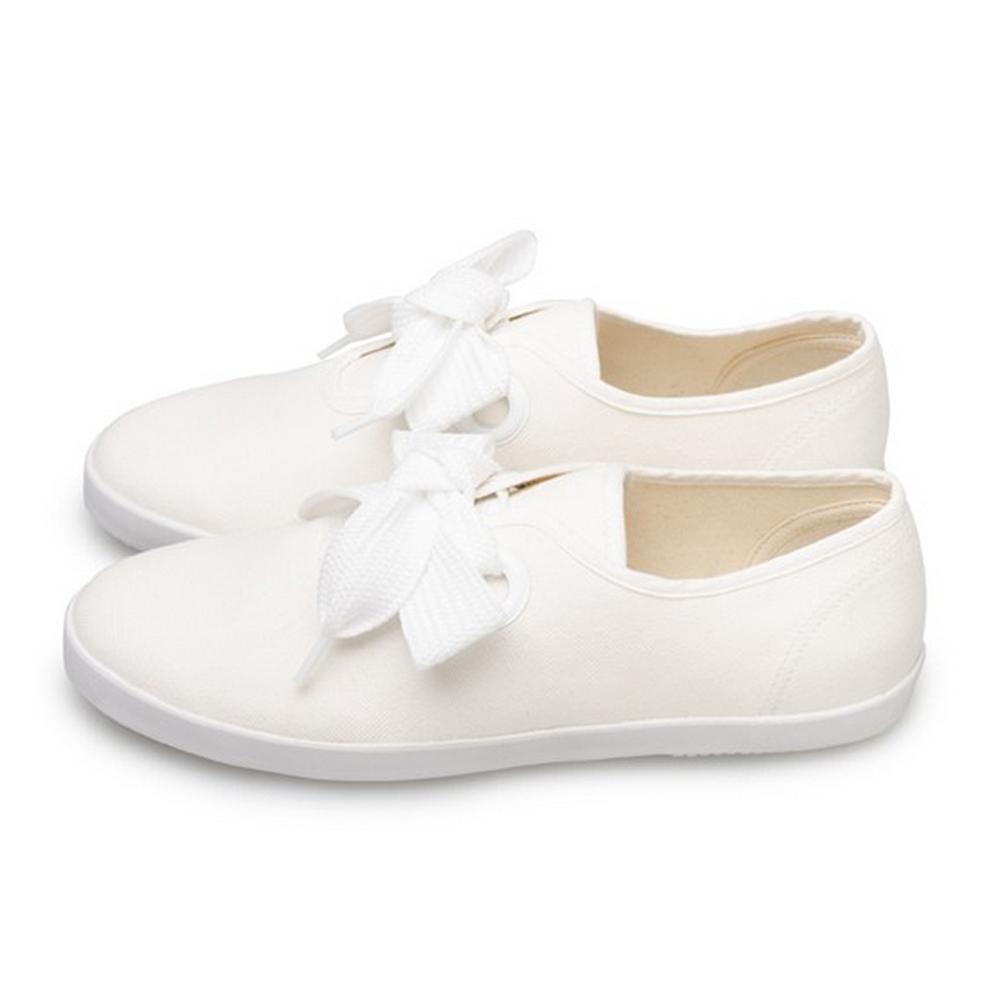 FUFA  MIT  簡約粗條綁帶休閒氣質懶人鞋(M43)-白色