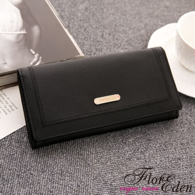 DF Flor Eden皮夾 - 在蒂凡尼早餐實用多卡夾真皮長夾-黑