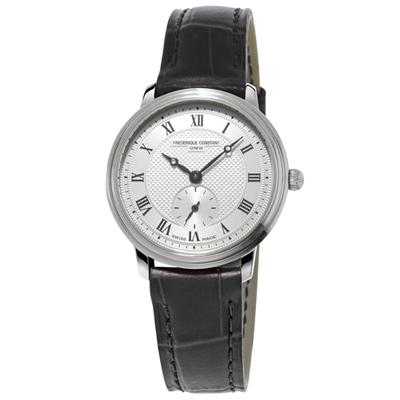 康斯登 CONSTANT SLIMLINE超薄系列小秒針女腕錶 -銀/28.6mm