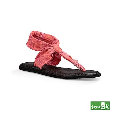 SANUK 素雅禪風印花瑜珈墊T字涼鞋(粉橘色)