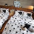 戀家小舖 / 雙人床包兩用被組  經典黑白款-馬來貘的日常  100%精梳棉  台灣製