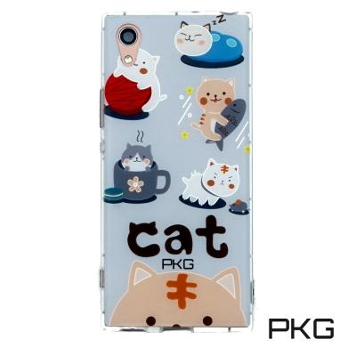 PKG SONY XA1 空壓氣墊保護殼(時尚彩繪)日常貓