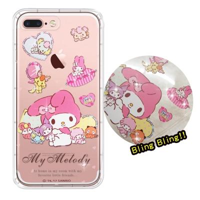 正版美樂蒂 iPhone 8 Plus/ 7 Plus 夢幻童話 彩鑽氣墊手機殼...