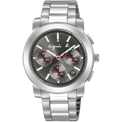 agnes b. 法國時尚運動三眼計時腕錶(BT3030X1)-銀x灰/38mm