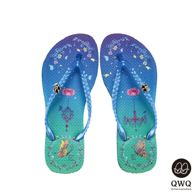 QWQ夾拖的創意(女)-空中園夾腳拖-藍