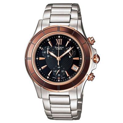 SHEEN 刻畫細膩之唯美陶瓷錶圈計時腕錶(SHE-5516SG-5A)-36mm